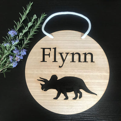 Laser cut bamboo name sign - Triceratops dinosaur