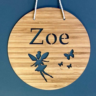 Laser cut bamboo name sign - Fairy