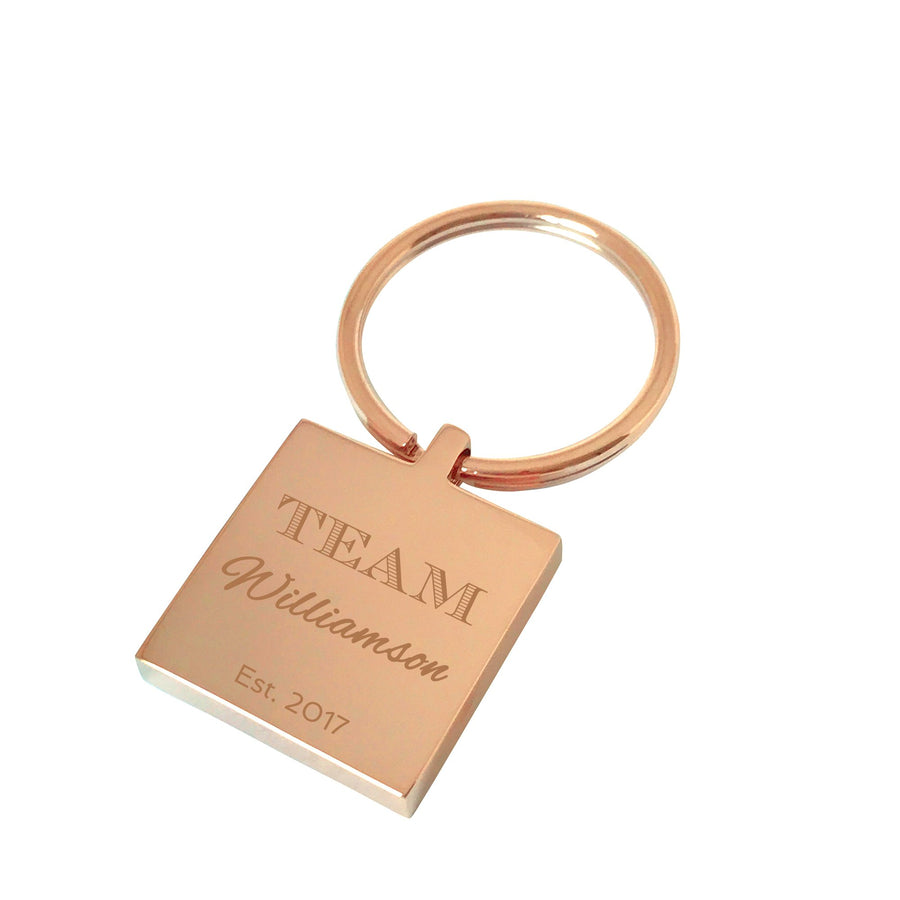 My Family, My Team – Rose gold engraved personalised keyring