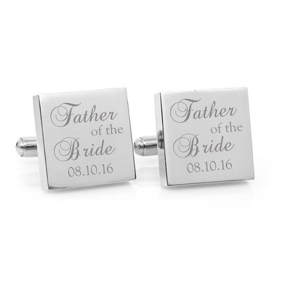 Father of the Bride – Engraved square stainless steel cufflinks (Classic font)
