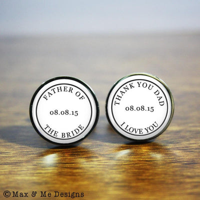 Father of the Bride, Thank you Dad – Round stainless steel cufflinks