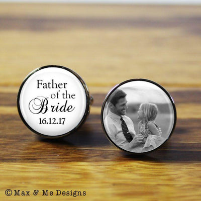 Father of the Bride photo – round stainless steel photo cufflinks