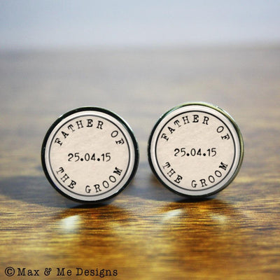 Father of the Groom – round stainless steel cufflinks
