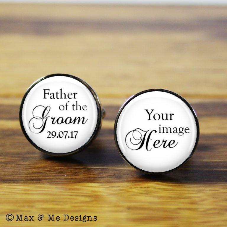 Father of the Groom photo – round stainless steel photo cufflinks