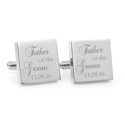 Father of the Groom – Engraved square stainless steel cufflinks