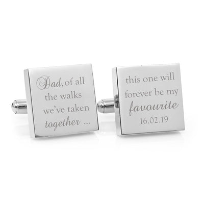 Father of the Bride Favourite walk  – Engraved square stainless steel cufflinks