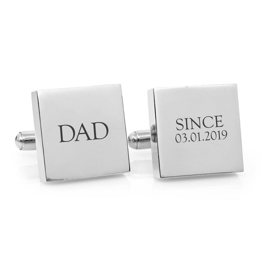 Dad Since – personalised square stainless steel cufflinks
