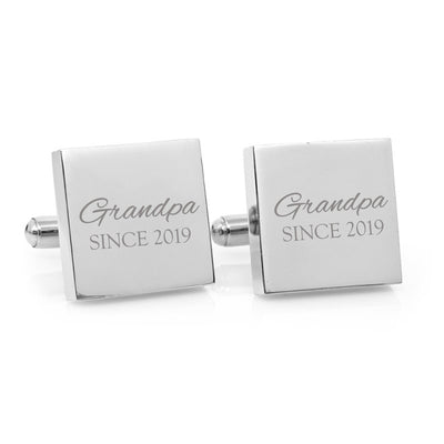 Daddy Since – personalised square silver and black cufflinks - Script font