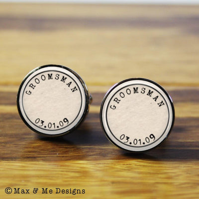 Groomsman – round stainless steel cufflinks