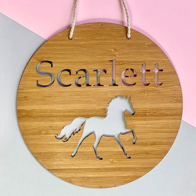 Laser cut bamboo name sign - Horse
