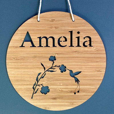 Laser cut bamboo name sign - Hummingbird