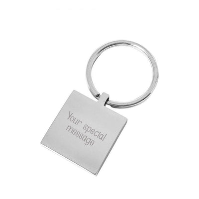 Hurry Home Mummy – Engraved silver square personalised keyring