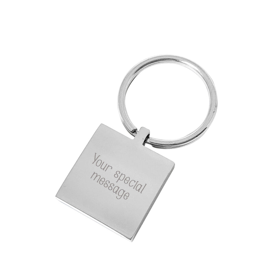 Hurry Home Daddy – Engraved silver square personalised keyring
