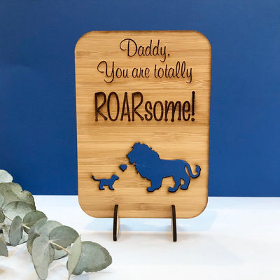 Daddy you're Roarsome - Lion - Father's Day wooden greeting card