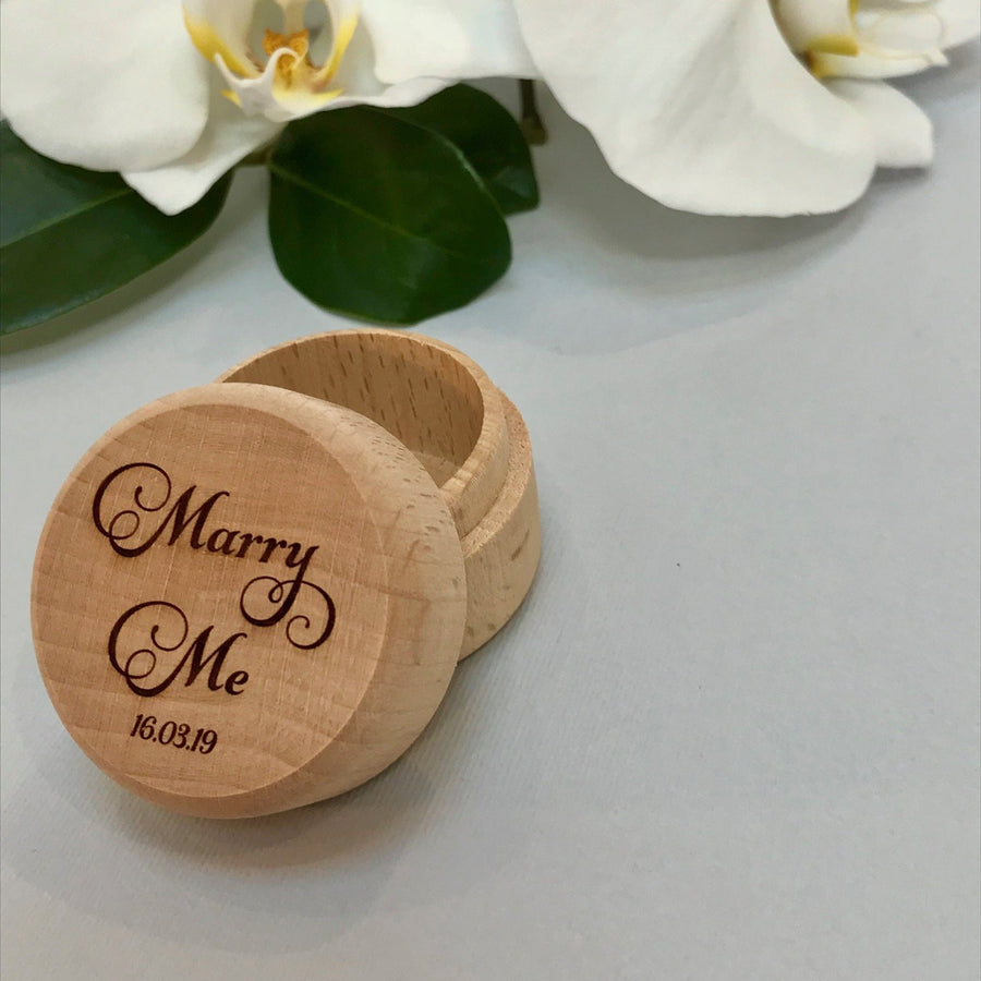Personalised wooden wedding ring box - Marry Me
