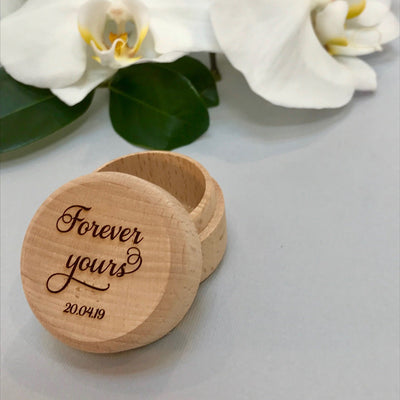 Personalised wooden wedding ring box - Forever Yours