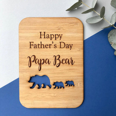 Papa Bear - Father's Day wooden greeting card
