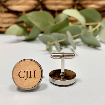 Classic Monogram – Wood cufflinks