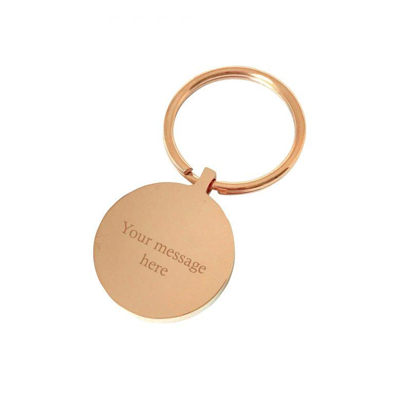 Lost without you – Rose gold engraved personalised keyring
