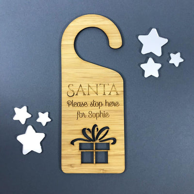 Personalised Bamboo Christmas Door Hanger - Santa Please Stop Here - Present