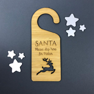 Personalised Bamboo Christmas Door Hanger - Santa Please Stop Here - Reindeer