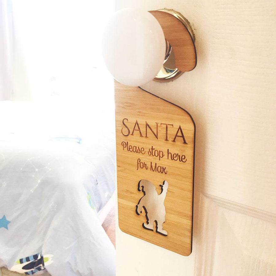 Personalised Bamboo Christmas Door Hanger - Santa Please Stop Here - Santa