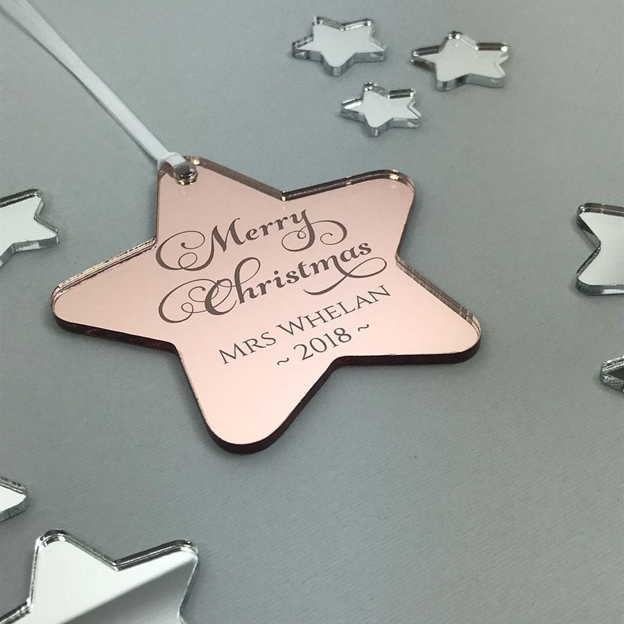 Personalised Teacher Gift - Christmas Star Ornament - Mirror Acrylic