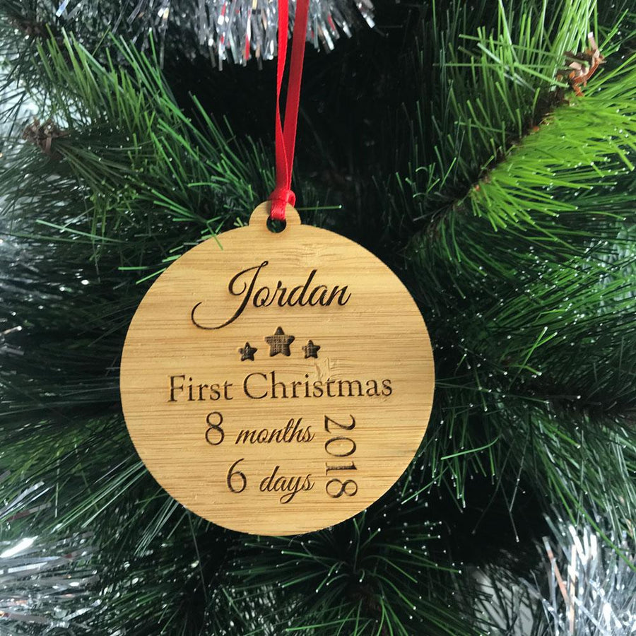 Personalised My 1st Christmas Ornament - Bamboo & Clear Acrylic
