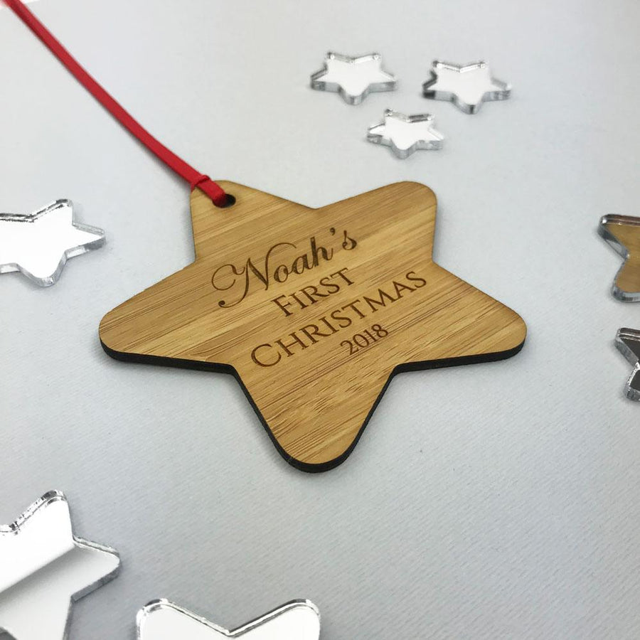Personalised My 1st Christmas Star Ornament - Bamboo & Clear Acrylic