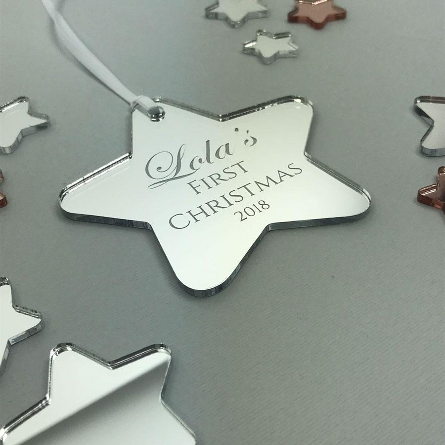 Personalised My 1st Christmas Star Ornament - Mirror Acrylic
