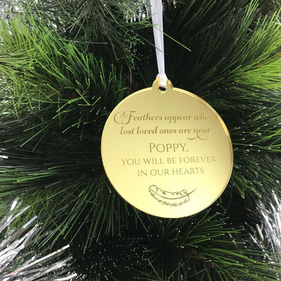 Personalised Memorial Christmas Ornament - Mirror Acrylic - Feathers Appear
