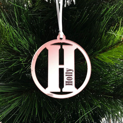 Personalised Letter Initial Mirror Acrylic Christmas Ornament