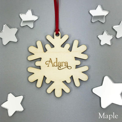 Personalised Name Snowflake Christmas Ornament - Solid wood & Clear or Silver Acrylic