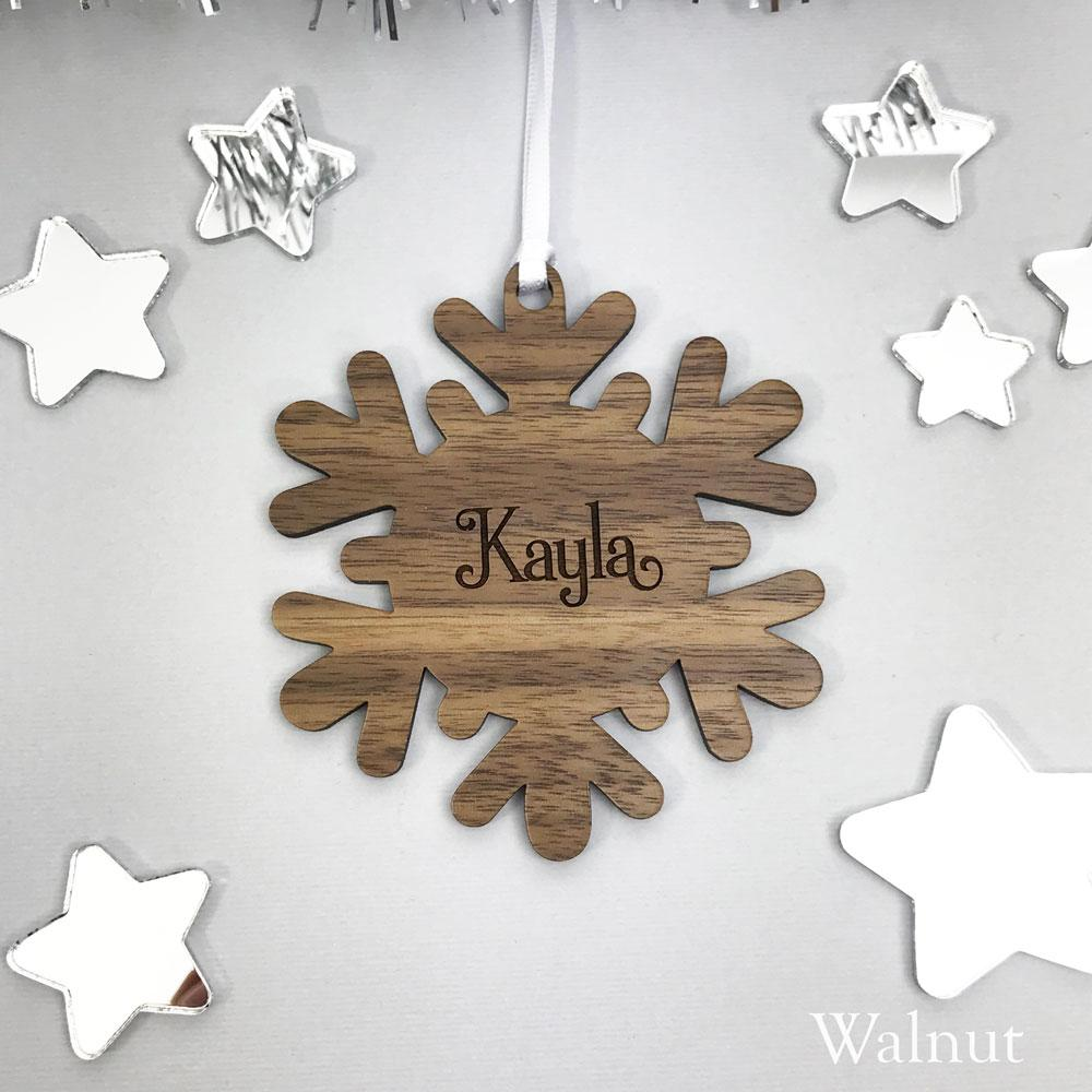 personalised name snowflake christmas ornament solid wood clear or silver acrylic
