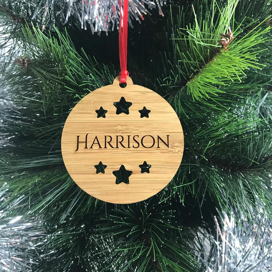 Personalised Name Christmas Ornament - Bamboo