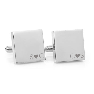 Minimalist Couple Love Heart Monogram – Engraved square stainless steel cufflinks