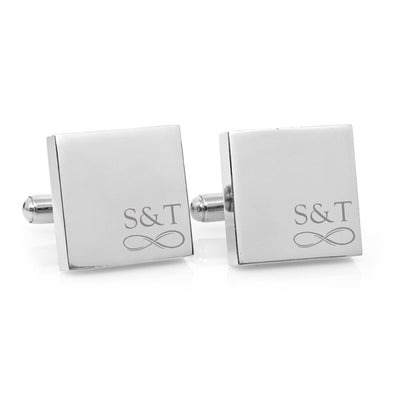 Minimalist Couple Infinity Monogram – Engraved square stainless steel cufflinks