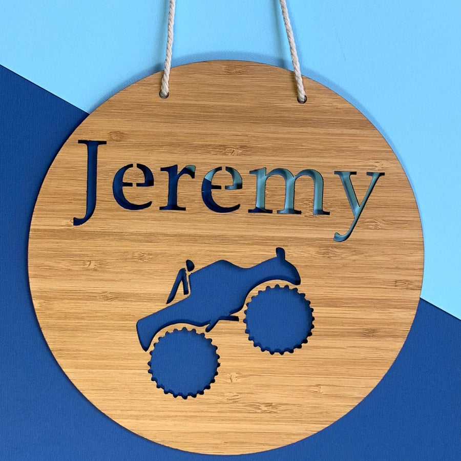 Laser cut bamboo name sign - Monster Truck