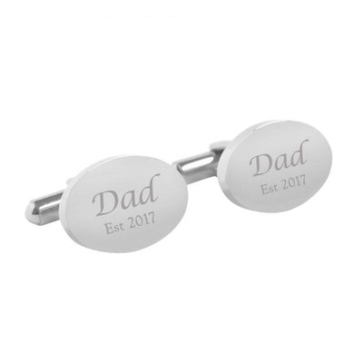 Dad Established – personalised oval stainless steel cufflinks
