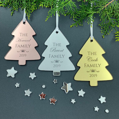 Personalised Family Tree Christmas Ornament - Mirror Acrylic