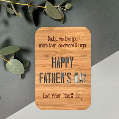 Personalised Father's Day wooden greeting card - We love you more than ...