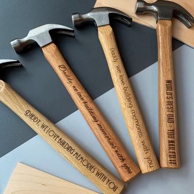 Personalised hammer - We love building memories with you (art deco font)