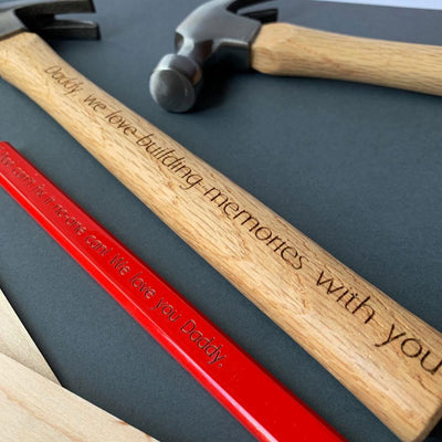 Personalised hammer - We love building memories with you (classic font)