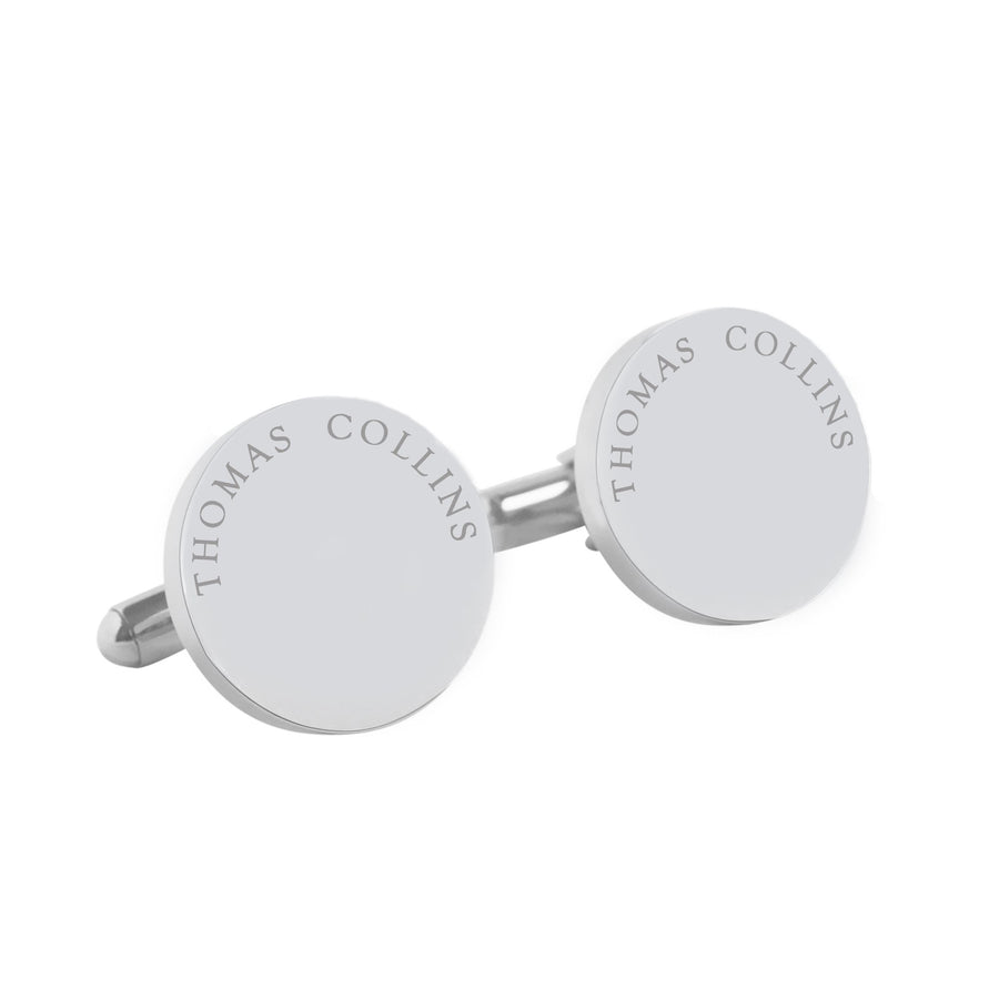 Say my name – personalised round stainless steel cufflinks