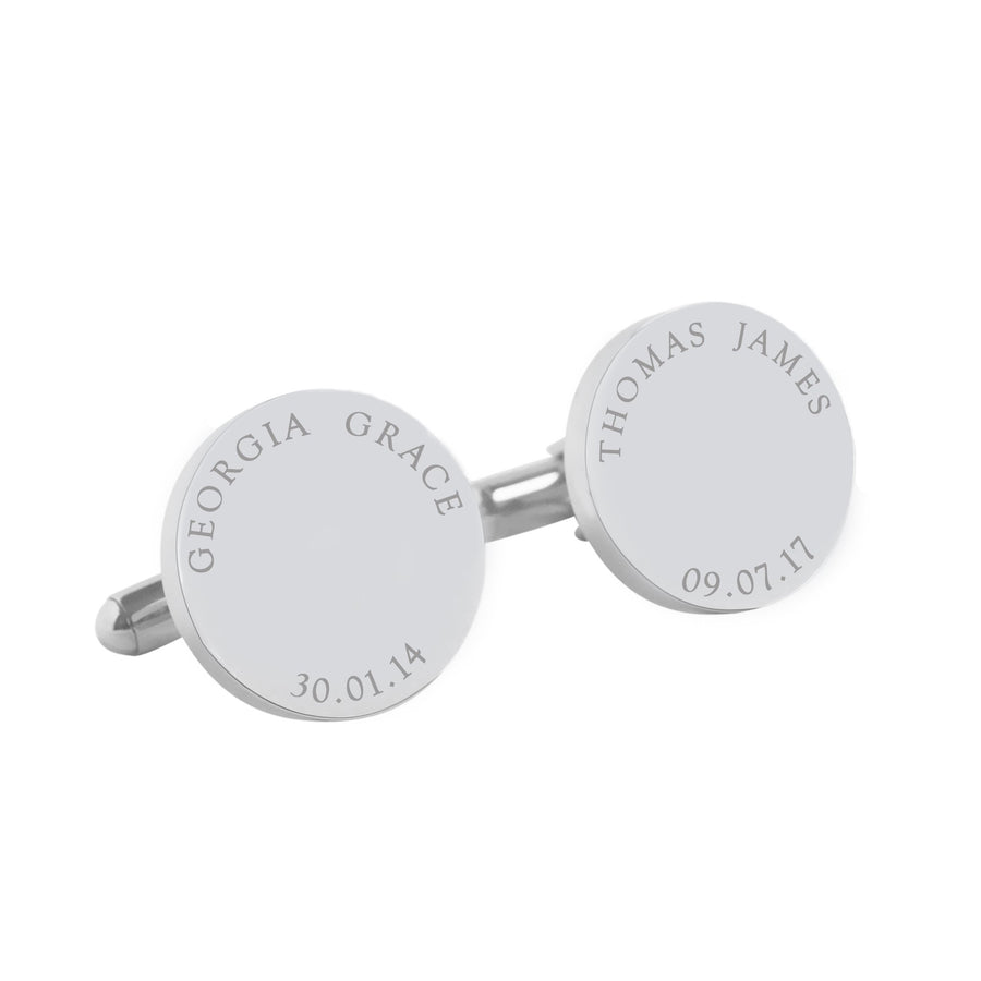 My Children – personalised round stainless steel cufflinks