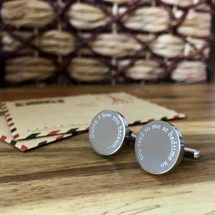 Reasons why I love you – personalised round stainless steel cufflinks