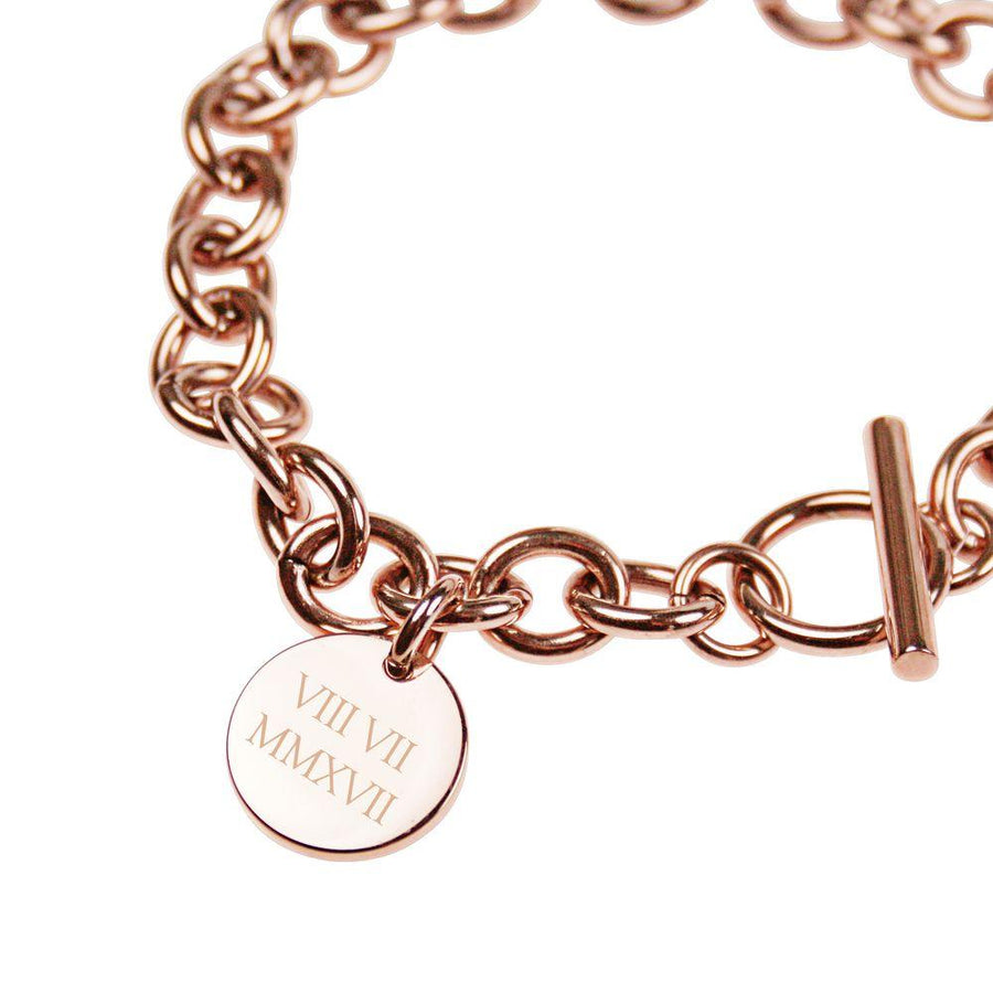 Rose Gold Engraved Personalised Bracelet – Roman numerals