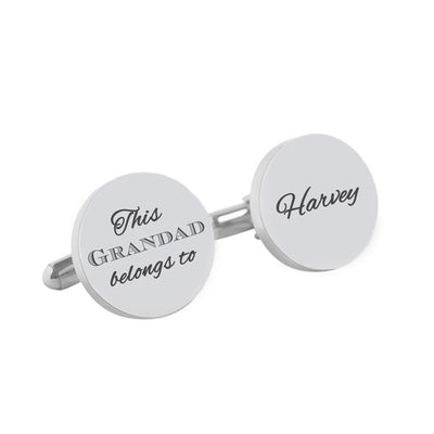 This Daddy Belongs To – Engraved round silver and black cufflinks