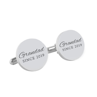 Daddy Since – personalised round  silver and black cufflinks - Script font
