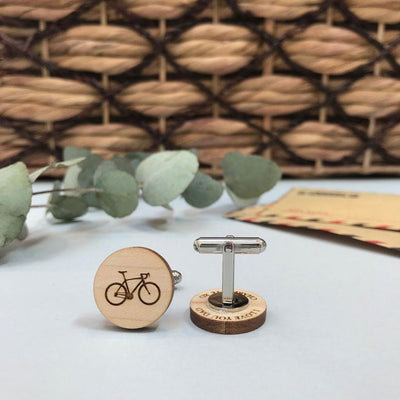 Secret message Wooden cufflinks - Bike